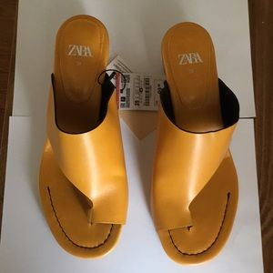 zara yellow mules slides